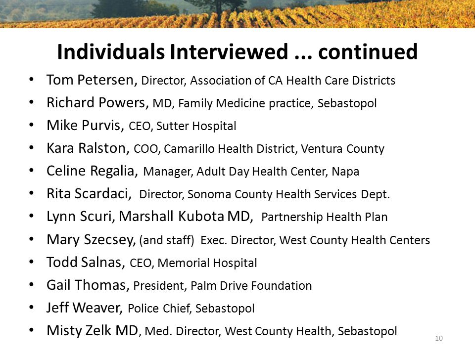 Individuals Interviewed... continued Tom Petersen, Director, Association of CA Health Care Districts Richard Powers, MD, Family Medicine practice, Seb