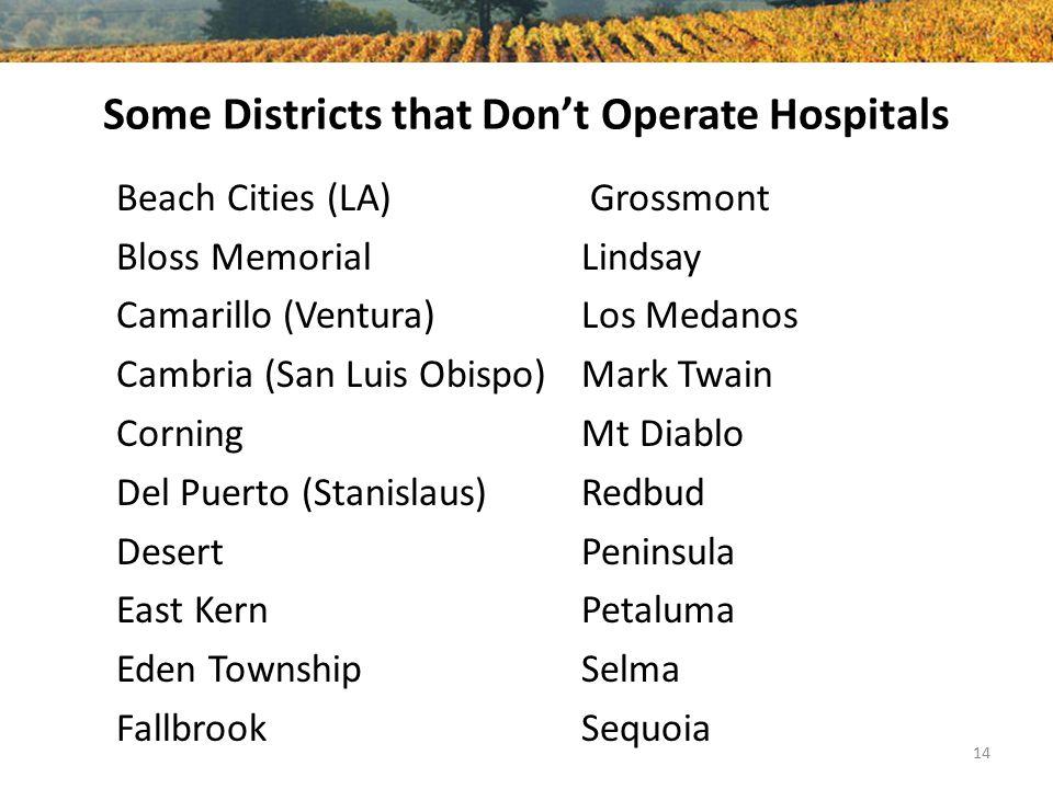 Some Districts that Don't Operate Hospitals Beach Cities (LA) Bloss Memorial Camarillo (Ventura) Cambria (San Luis Obispo) Corning Del Puerto (Stanisl