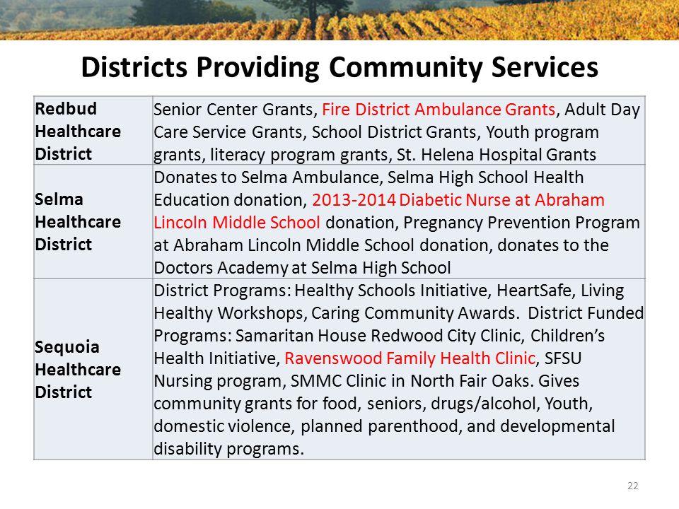 Districts Providing Community Services Redbud Healthcare District Senior Center Grants, Fire District Ambulance Grants, Adult Day Care Service Grants,