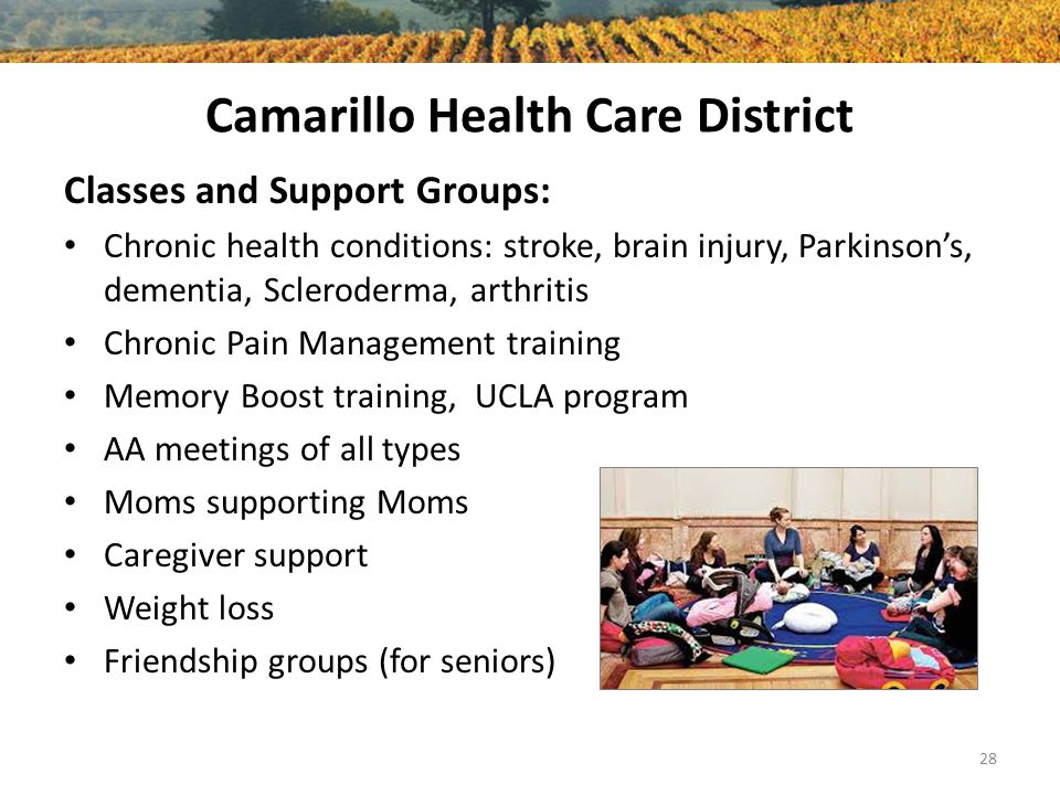 Camarillo Health Care District Classes and Support Groups: Chronic health conditions: stroke, brain injury, Parkinson's, dementia, Scleroderma, arthritis Chronic Pain Management training Memory Boost training, UCLA program AA meetings of all types Moms supporting Moms Caregiver support Weight loss Friendship groups (for seniors) 28