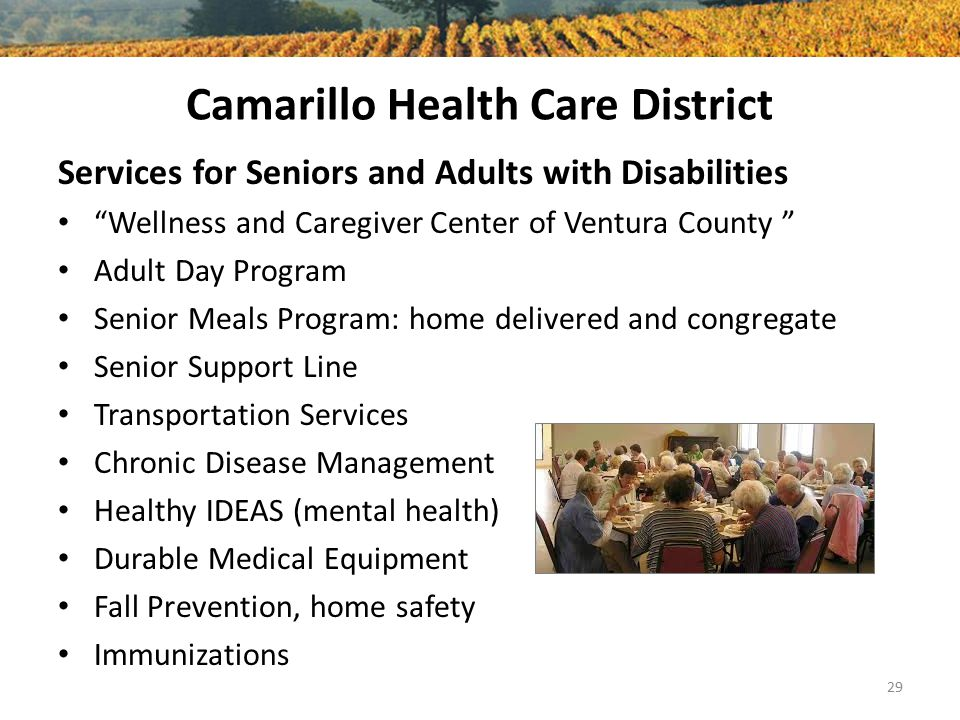 Camarillo Health Care District Services for Seniors and Adults with Disabilities Wellness and Caregiver Center of Ventura County Adult Day Program Senior Meals Program: home delivered and congregate Senior Support Line Transportation Services Chronic Disease Management Healthy IDEAS (mental health) Durable Medical Equipment Fall Prevention, home safety Immunizations 29
