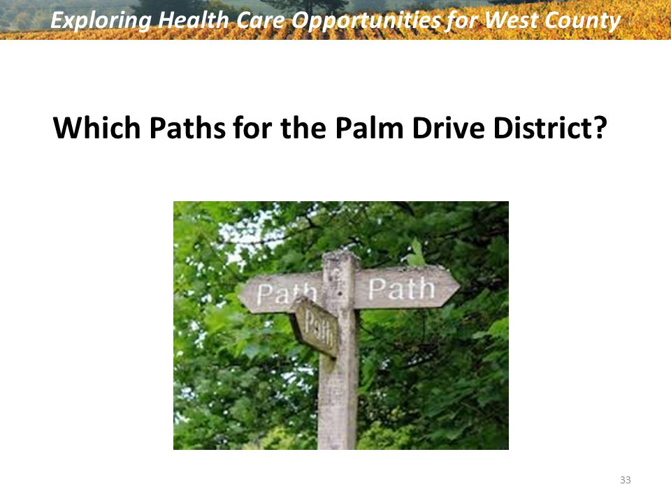 Which Paths for the Palm Drive District? Exploring Health Care Opportunities for West County 33