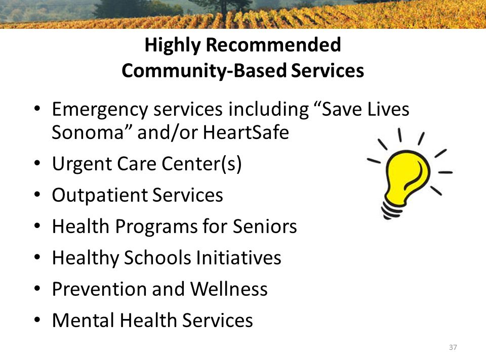 Highly Recommended Community-Based Services Emergency services including Save Lives Sonoma and/or HeartSafe Urgent Care Center(s) Outpatient Services Health Programs for Seniors Healthy Schools Initiatives Prevention and Wellness Mental Health Services 37