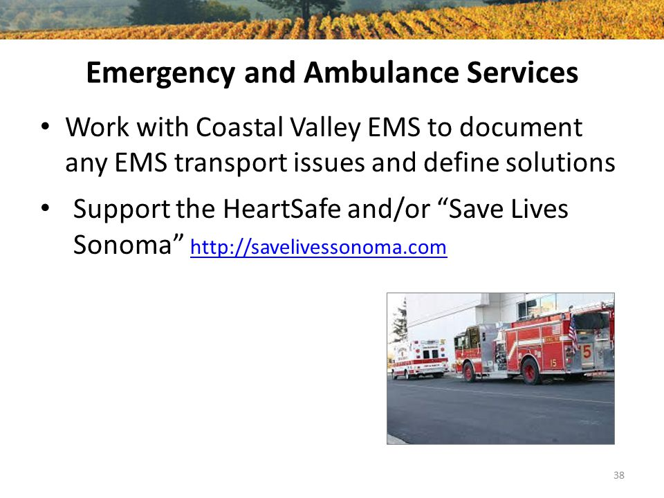 """Emergency and Ambulance Services Work with Coastal Valley EMS to document any EMS transport issues and define solutions Support the HeartSafe and/or """""""