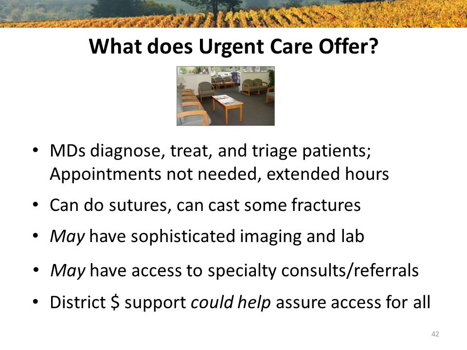 What does Urgent Care Offer? MDs diagnose, treat, and triage patients; Appointments not needed, extended hours 42 Can do sutures, can cast some fractu