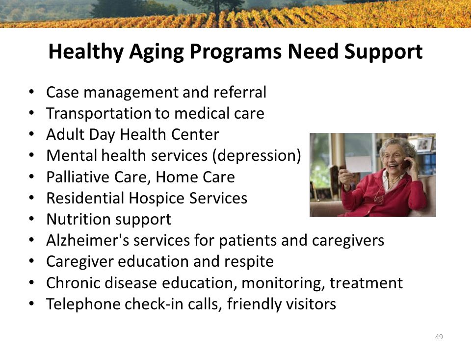 Healthy Aging Programs Need Support Case management and referral Transportation to medical care Adult Day Health Center Mental health services (depres