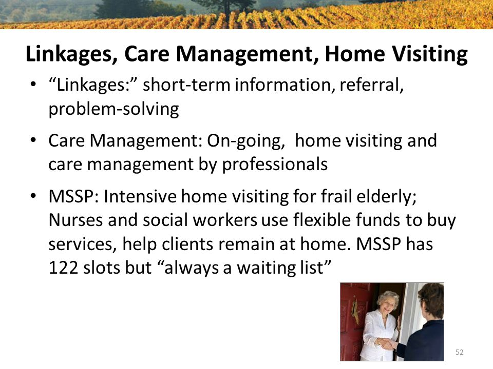 Linkages, Care Management, Home Visiting Linkages: short-term information, referral, problem-solving Care Management: On-going, home visiting and care management by professionals MSSP: Intensive home visiting for frail elderly; Nurses and social workers use flexible funds to buy services, help clients remain at home.
