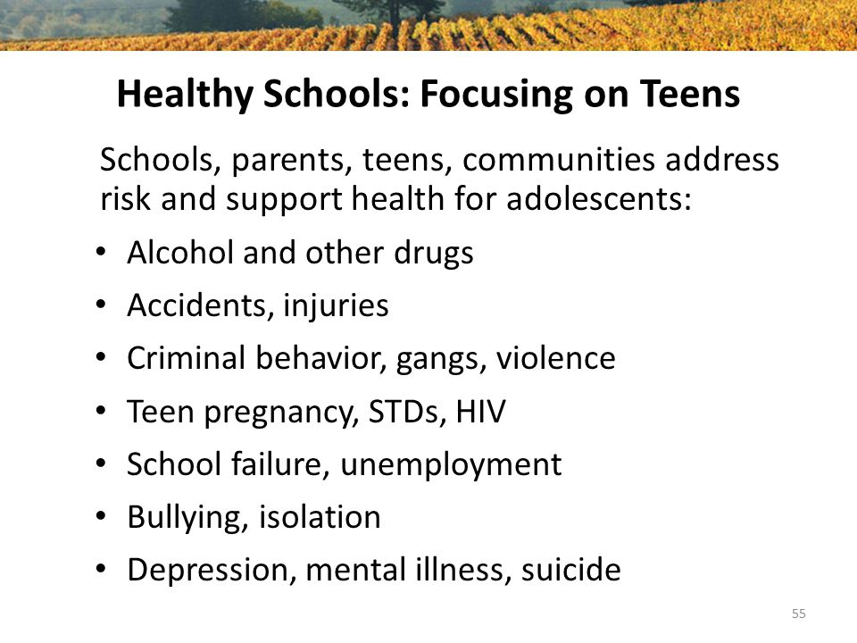Healthy Schools: Focusing on Teens Schools, parents, teens, communities address risk and support health for adolescents: Alcohol and other drugs Accid