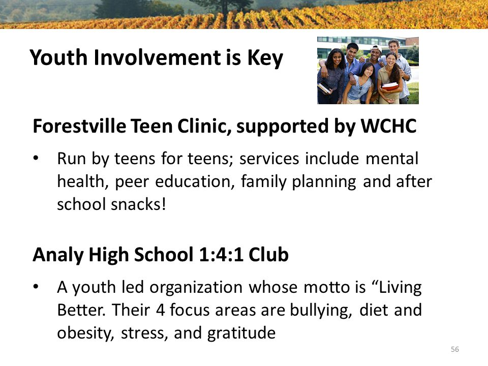 Youth Involvement is Key Forestville Teen Clinic, supported by WCHC Run by teens for teens; services include mental health, peer education, family pla
