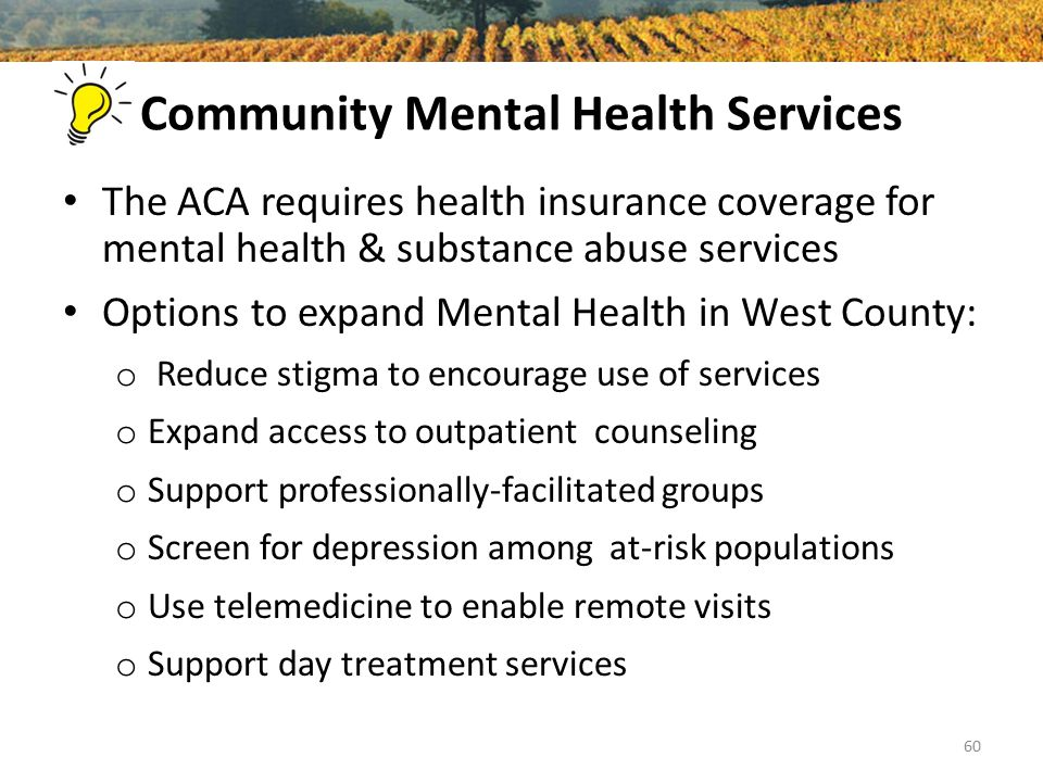 Community Mental Health Services The ACA requires health insurance coverage for mental health & substance abuse services Options to expand Mental Health in West County: o Reduce stigma to encourage use of services o Expand access to outpatient counseling o Support professionally-facilitated groups o Screen for depression among at-risk populations o Use telemedicine to enable remote visits o Support day treatment services 60