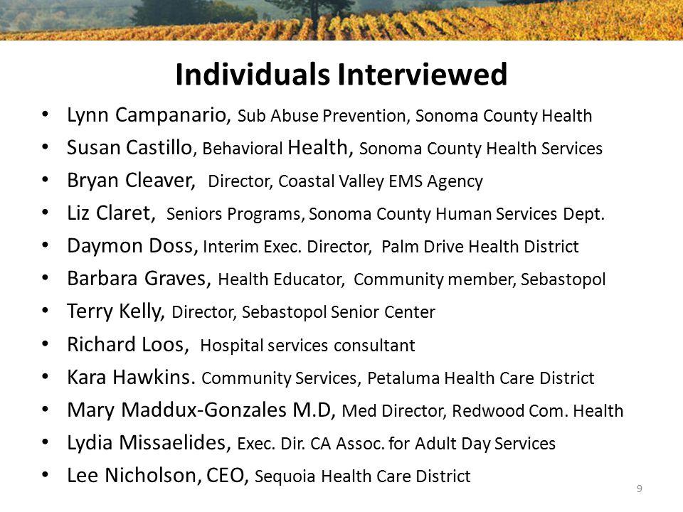 Individuals Interviewed Lynn Campanario, Sub Abuse Prevention, Sonoma County Health Susan Castillo, Behavioral Health, Sonoma County Health Services B