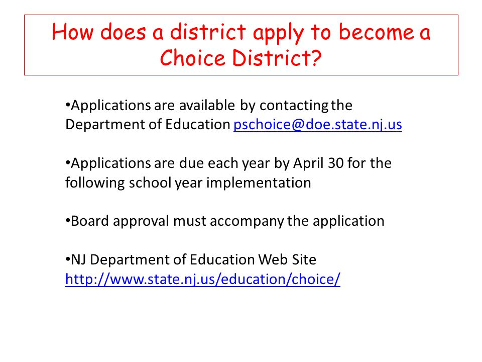 How does a district apply to become a Choice District.