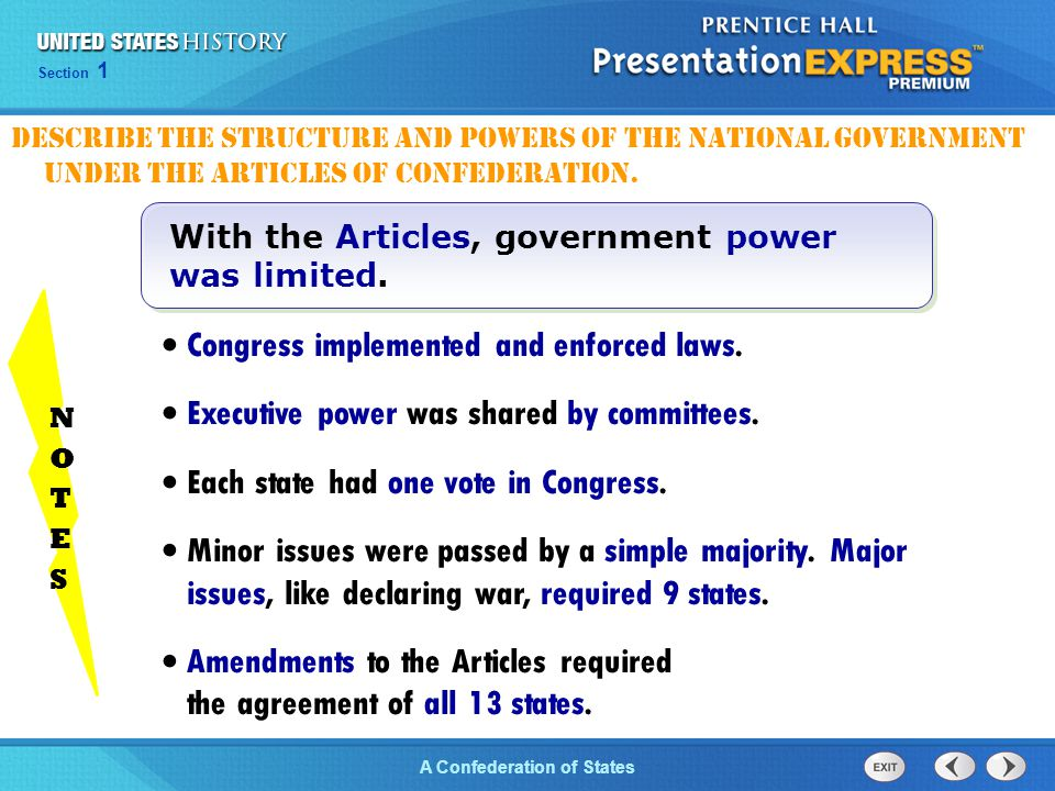 Chapter 25 Section 1 The Cold War Begins Section 1 A Confederation of States Congress implemented and enforced laws. Executive power was shared by com
