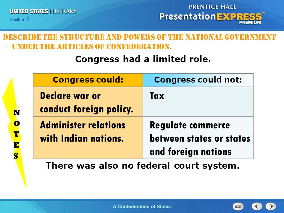 Chapter 25 Section 1 The Cold War Begins Section 1 A Confederation of States Congress had a limited role. There was also no federal court system. Cong