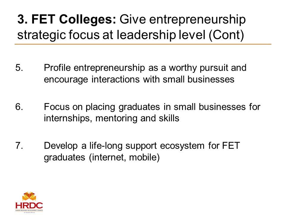 3. FET Colleges: Give entrepreneurship strategic focus at leadership level (Cont) 5.Profile entrepreneurship as a worthy pursuit and encourage interac