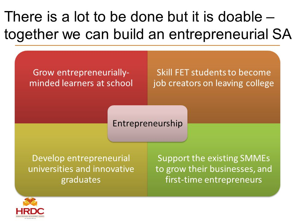 There is a lot to be done but it is doable – together we can build an entrepreneurial SA Grow entrepreneurially- minded learners at school Skill FET students to become job creators on leaving college Develop entrepreneurial universities and innovative graduates Support the existing SMMEs to grow their businesses, and first-time entrepreneurs Entrepreneurship