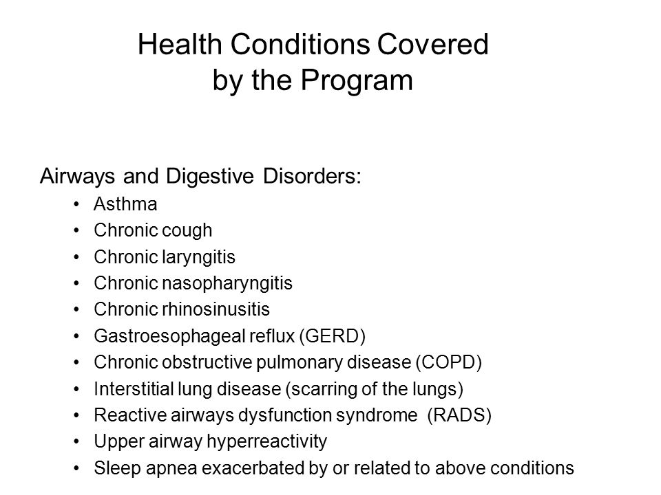 Health Conditions Covered by the Program Mental health conditions: Posttraumatic stress disorder (PTSD) Depression Panic disorder Anxiety Substance abuse