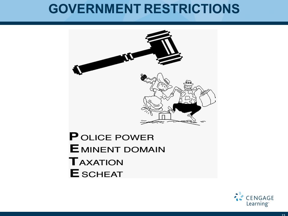 GOVERNMENT RESTRICTIONS 13