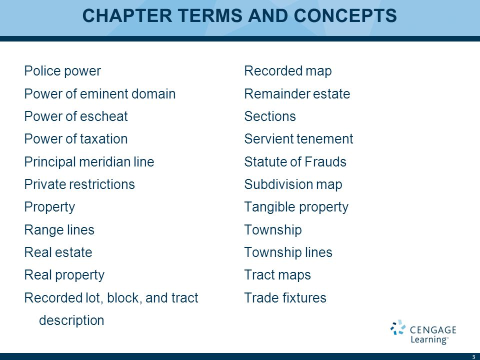 CHAPTER TERMS AND CONCEPTS Police power Power of eminent domain Power of escheat Power of taxation Principal meridian line Private restrictions Proper