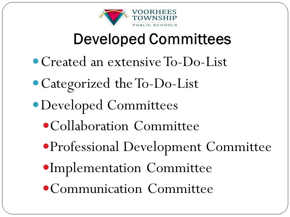 Developed Committees Created an extensive To-Do-List Categorized the To-Do-List Developed Committees Collaboration Committee Professional Development Committee Implementation Committee Communication Committee
