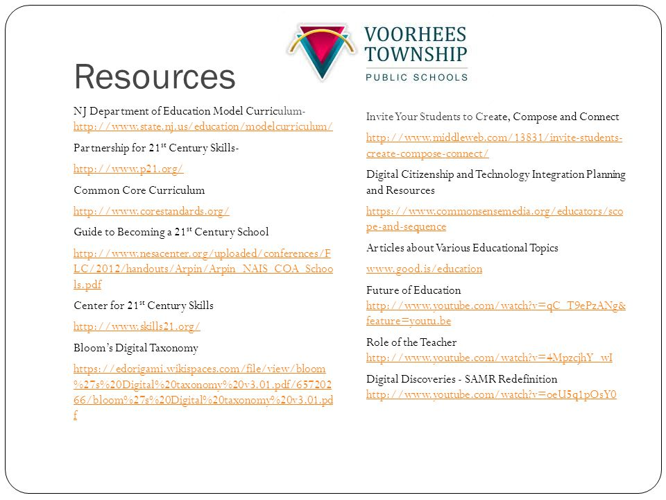 Resources NJ Department of Education Model Curriculum- http://www.state.nj.us/education/modelcurriculum/ http://www.state.nj.us/education/modelcurriculum/ Partnership for 21 st Century Skills- http://www.p21.org/ Common Core Curriculum http://www.corestandards.org/ Guide to Becoming a 21 st Century School http://www.nesacenter.org/uploaded/conferences/F LC/2012/handouts/Arpin/Arpin_NAIS_COA_Schoo ls.pdf Center for 21 st Century Skills http://www.skills21.org/ Bloom's Digital Taxonomy https://edorigami.wikispaces.com/file/view/bloom %27s%20Digital%20taxonomy%20v3.01.pdf/657202 66/bloom%27s%20Digital%20taxonomy%20v3.01.pd f Invite Your Students to Create, Compose and Connect http://www.middleweb.com/13831/invite-students- create-compose-connect/ Digital Citizenship and Technology Integration Planning and Resources https://www.commonsensemedia.org/educators/sco pe-and-sequence Articles about Various Educational Topics www.good.is/education Future of Education http://www.youtube.com/watch v=qC_T9ePzANg& feature=youtu.be http://www.youtube.com/watch v=qC_T9ePzANg& feature=youtu.be Role of the Teacher http://www.youtube.com/watch v=4MpzcjhY_wI http://www.youtube.com/watch v=4MpzcjhY_wI Digital Discoveries - SAMR Redefinition http://www.youtube.com/watch v=oeU5q1pOsY0 http://www.youtube.com/watch v=oeU5q1pOsY0