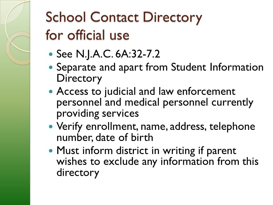 School Contact Directory for official use See N.J.A.C.