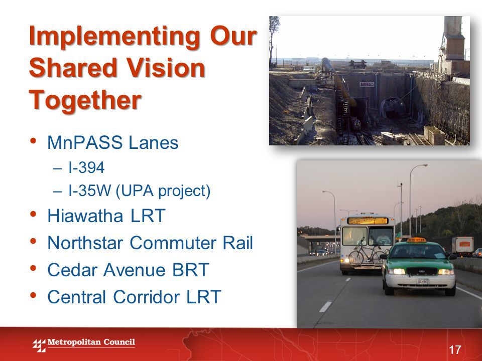 Implementing Our Shared Vision Together 17 MnPASS Lanes –I-394 –I-35W (UPA project) Hiawatha LRT Northstar Commuter Rail Cedar Avenue BRT Central Corr