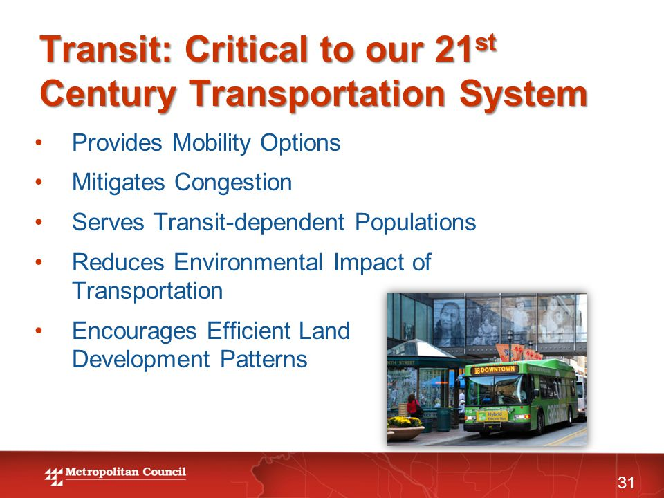 Transit: Critical to our 21 st Century Transportation System Provides Mobility Options Mitigates Congestion Serves Transit-dependent Populations Reduc