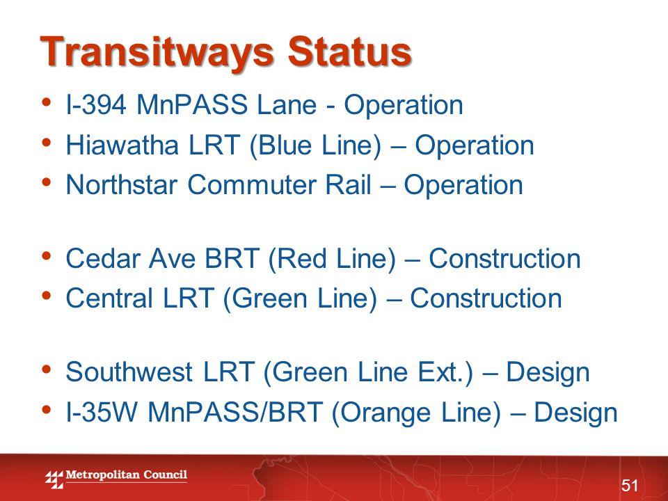 Transitways Status I-394 MnPASS Lane - Operation Hiawatha LRT (Blue Line) – Operation Northstar Commuter Rail – Operation Cedar Ave BRT (Red Line) – C