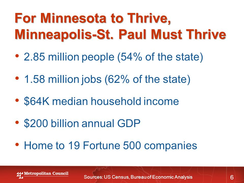For Minnesota to Thrive, Minneapolis-St. Paul Must Thrive 6 2.85 million people (54% of the state) 1.58 million jobs (62% of the state) $64K median ho