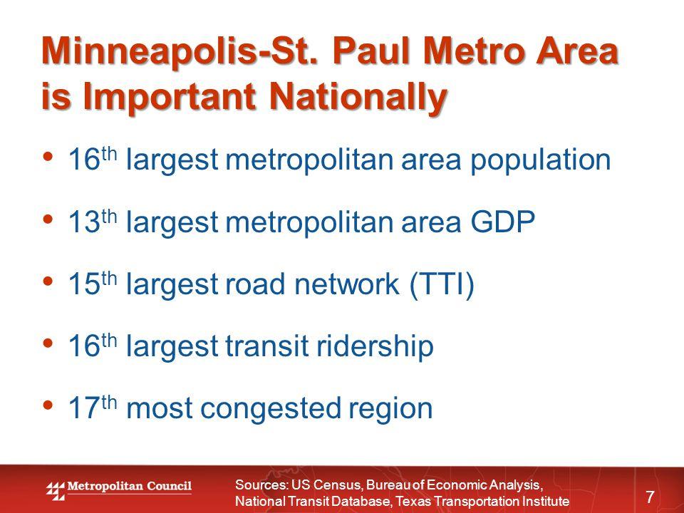 Minneapolis-St. Paul Metro Area is Important Nationally 7 16 th largest metropolitan area population 13 th largest metropolitan area GDP 15 th largest