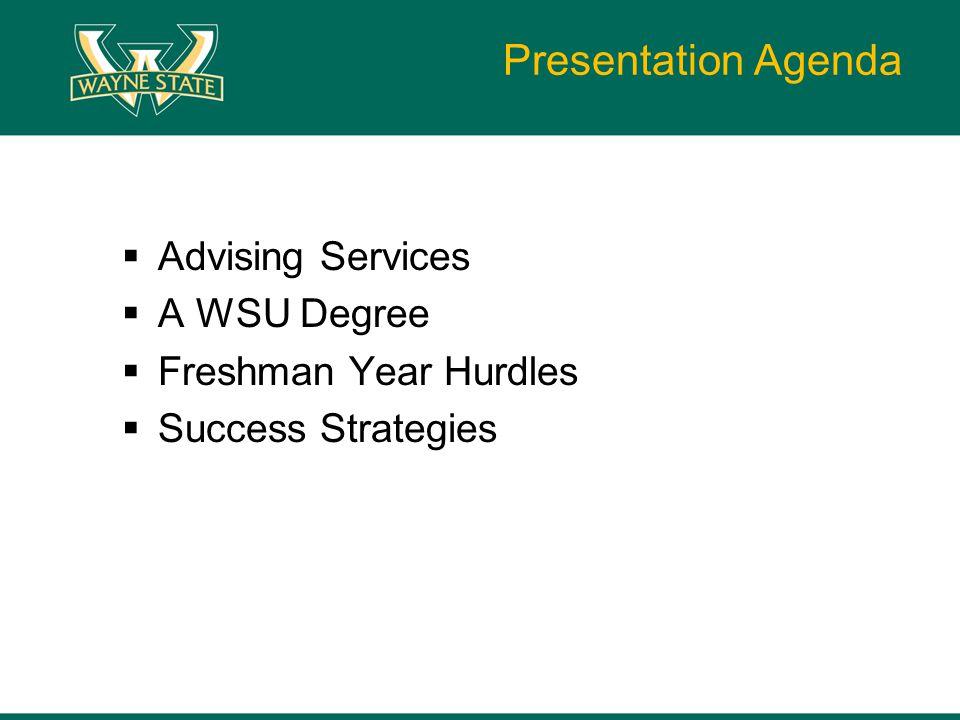 Presentation Agenda  Advising Services  A WSU Degree  Freshman Year Hurdles  Success Strategies
