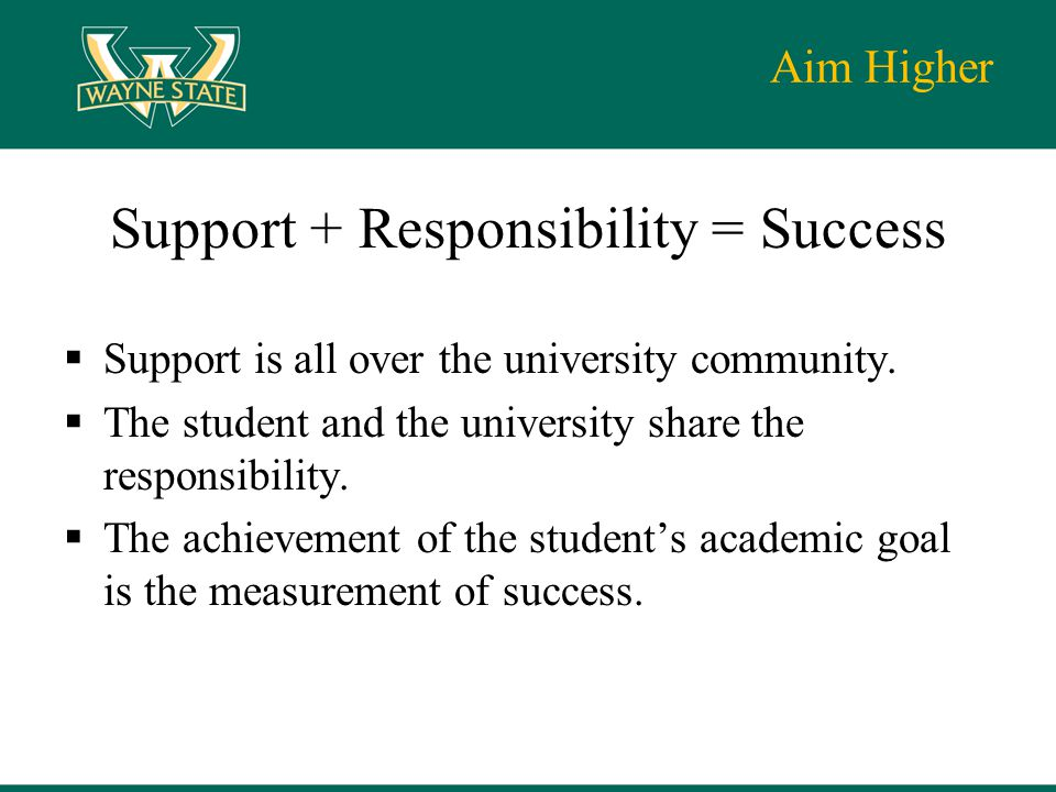 Aim Higher Support + Responsibility = Success  Support is all over the university community.