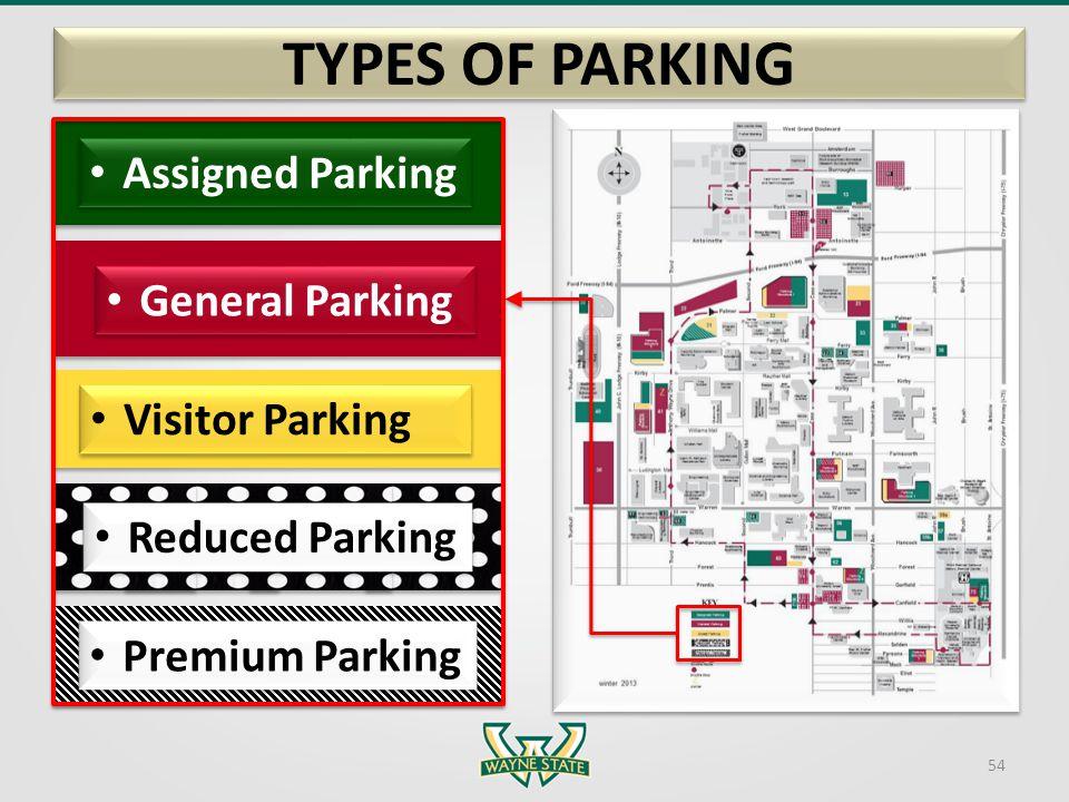 Assigned Parking General Parking Visitor Parking Premium Parking TYPES OF PARKING 54 Reduced Parking