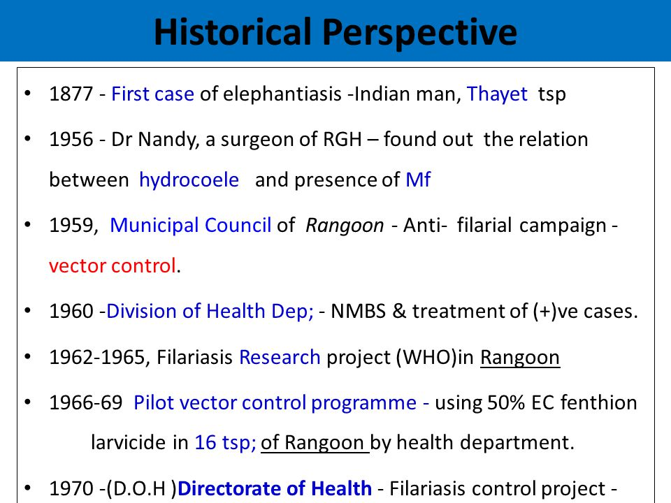 Historical Perspective (Cont;) 1978 - integrated with Malaria, DHF and J-B Encephalitis control Programme into VBDC Program 1983, Culex larval control was stopped because of vector resistant to insecticide, although case finding with NMBS and treatment of positive cases - 2001, the Global Strategy for Elimination of Lymphatic Filariasis (ELF) has been adopted.