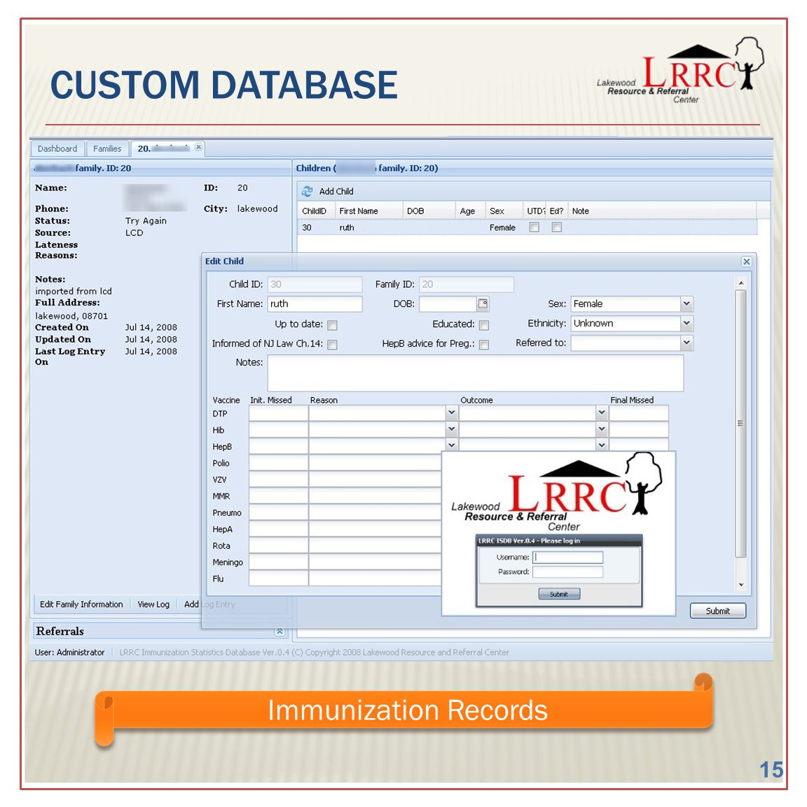 CUSTOM DATABASE Immunization Records 15