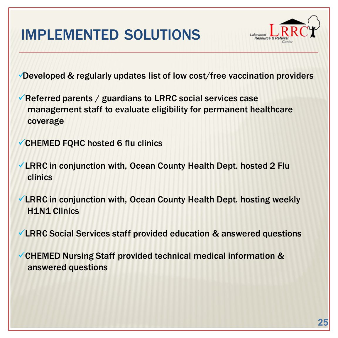 IMPLEMENTED SOLUTIONS Developed & regularly updates list of low cost/free vaccination providers Referred parents / guardians to LRRC social services c