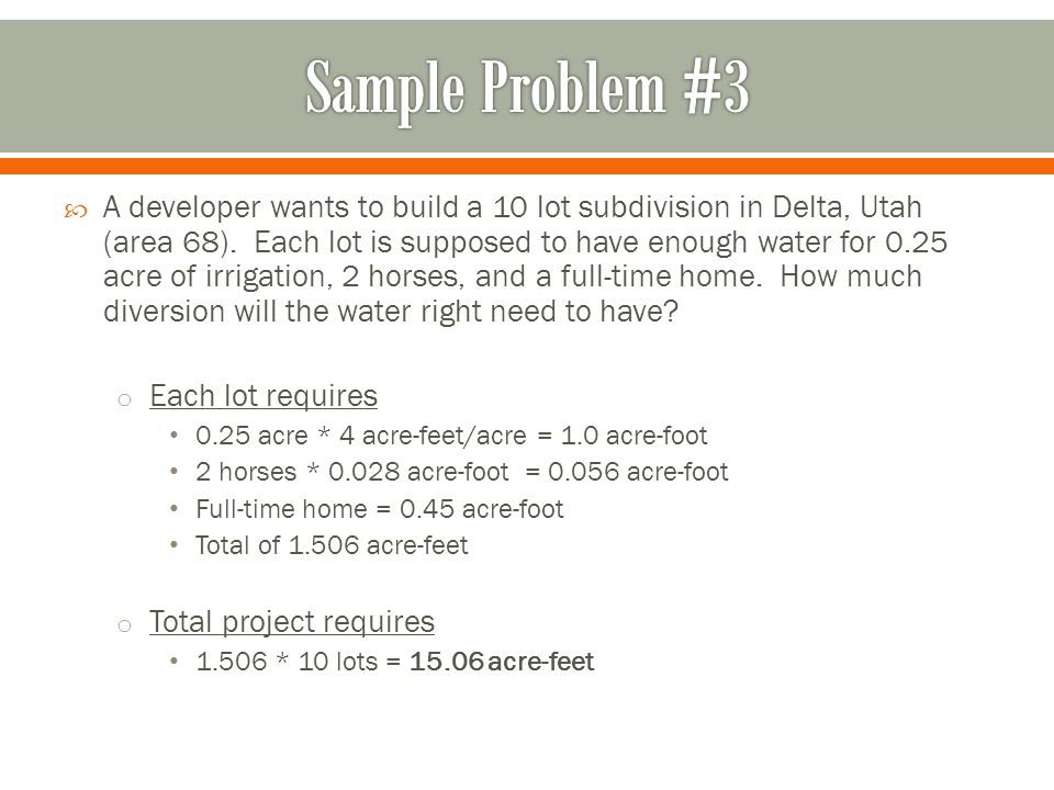  A developer wants to build a 10 lot subdivision in Delta, Utah (area 68).