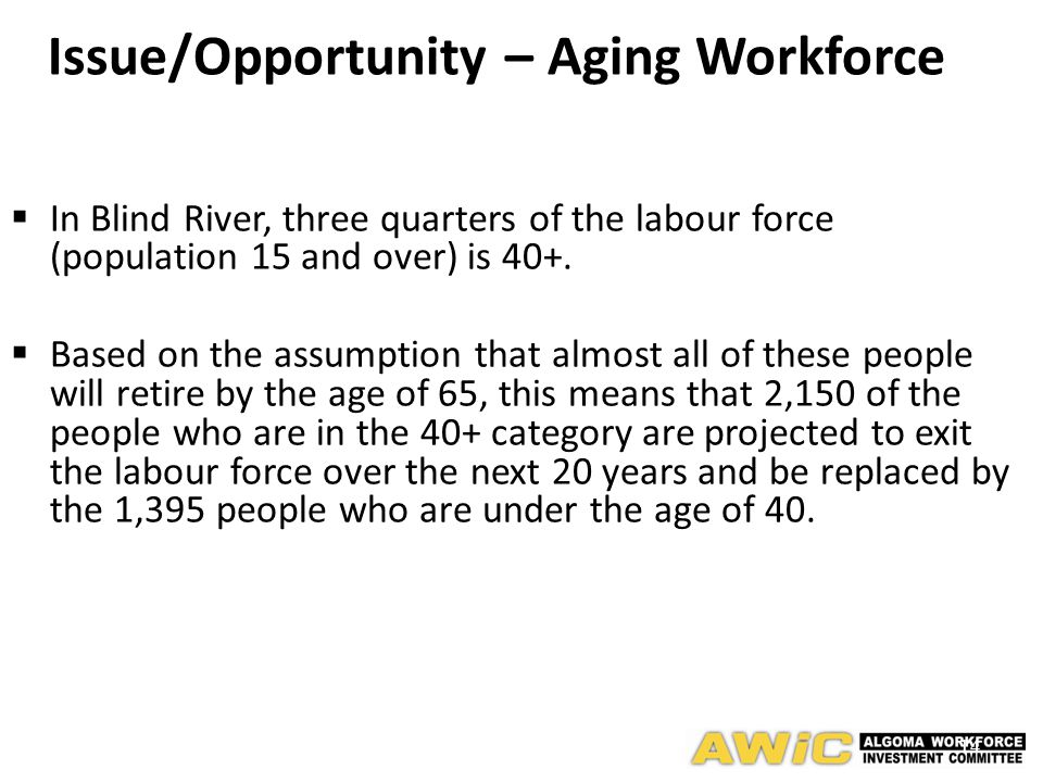 14  In Blind River, three quarters of the labour force (population 15 and over) is 40+.