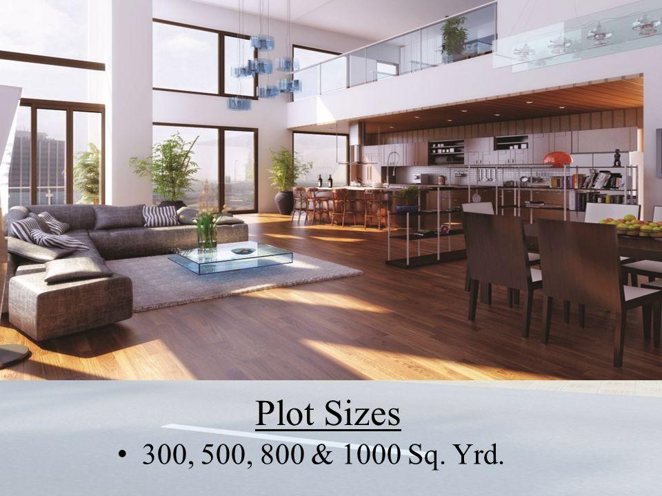 Plot Sizes 300, 500, 800 & 1000 Sq. Yrd.