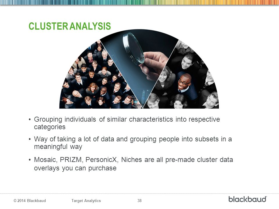 Target Analytics 38 © 2014 Blackbaud Grouping individuals of similar characteristics into respective categories Way of taking a lot of data and groupi