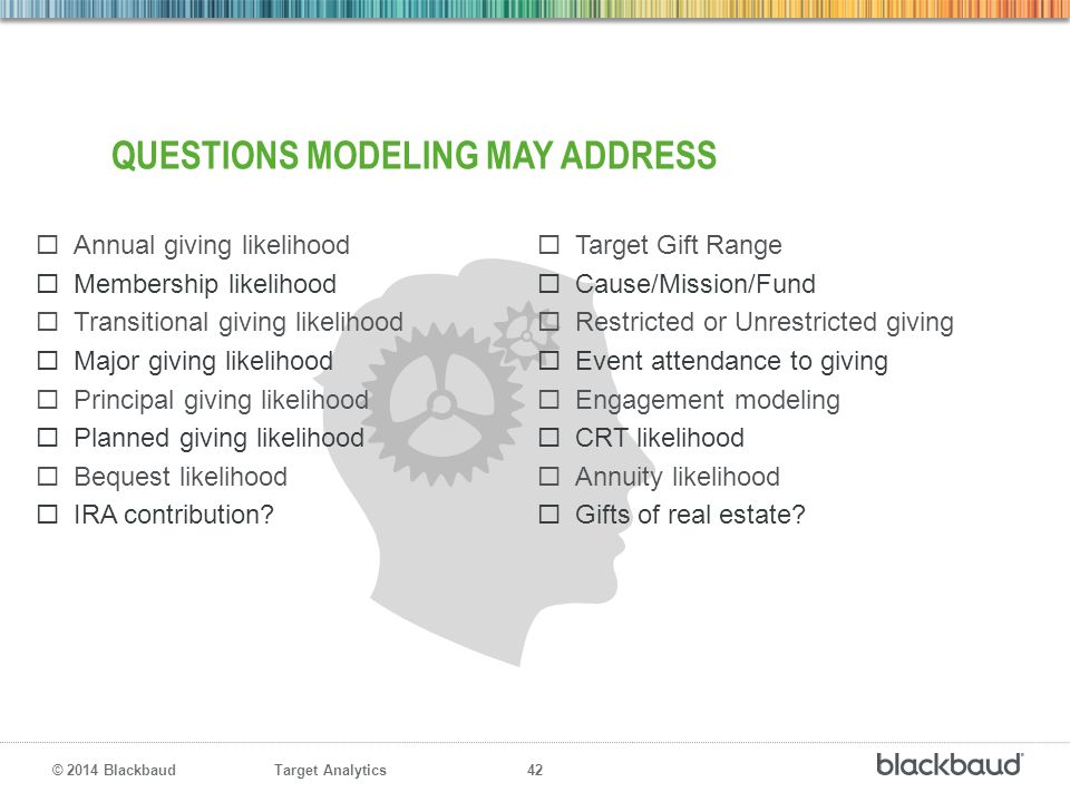 Target Analytics 42 © 2014 Blackbaud QUESTIONS MODELING MAY ADDRESS  Annual giving likelihood  Membership likelihood  Transitional giving likelihoo