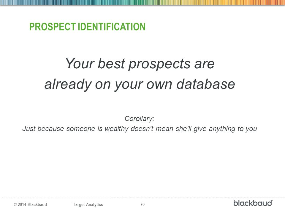 Target Analytics 70 © 2014 Blackbaud PROSPECT IDENTIFICATION Your best prospects are already on your own database Corollary: Just because someone is w