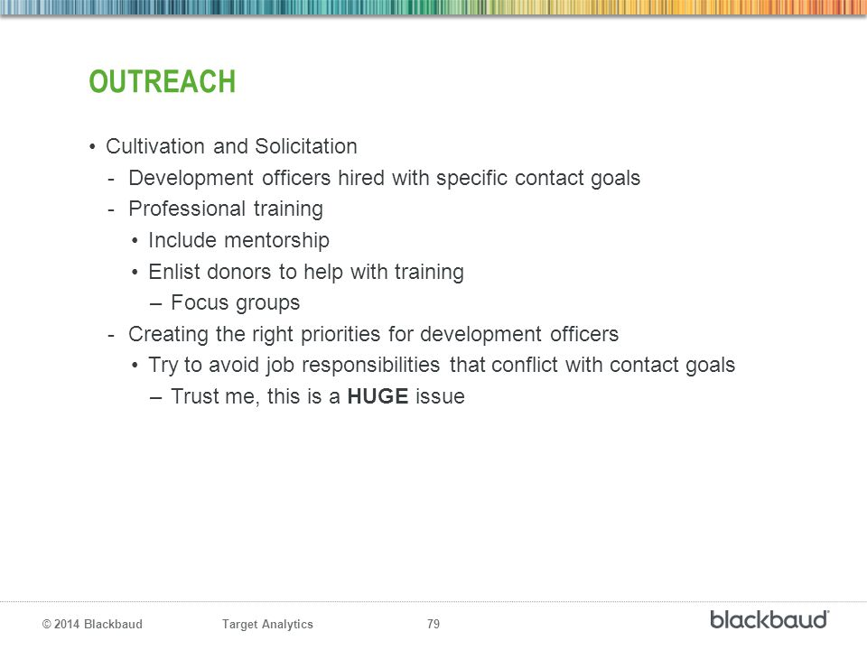 Target Analytics 79 © 2014 Blackbaud OUTREACH Cultivation and Solicitation -Development officers hired with specific contact goals -Professional train