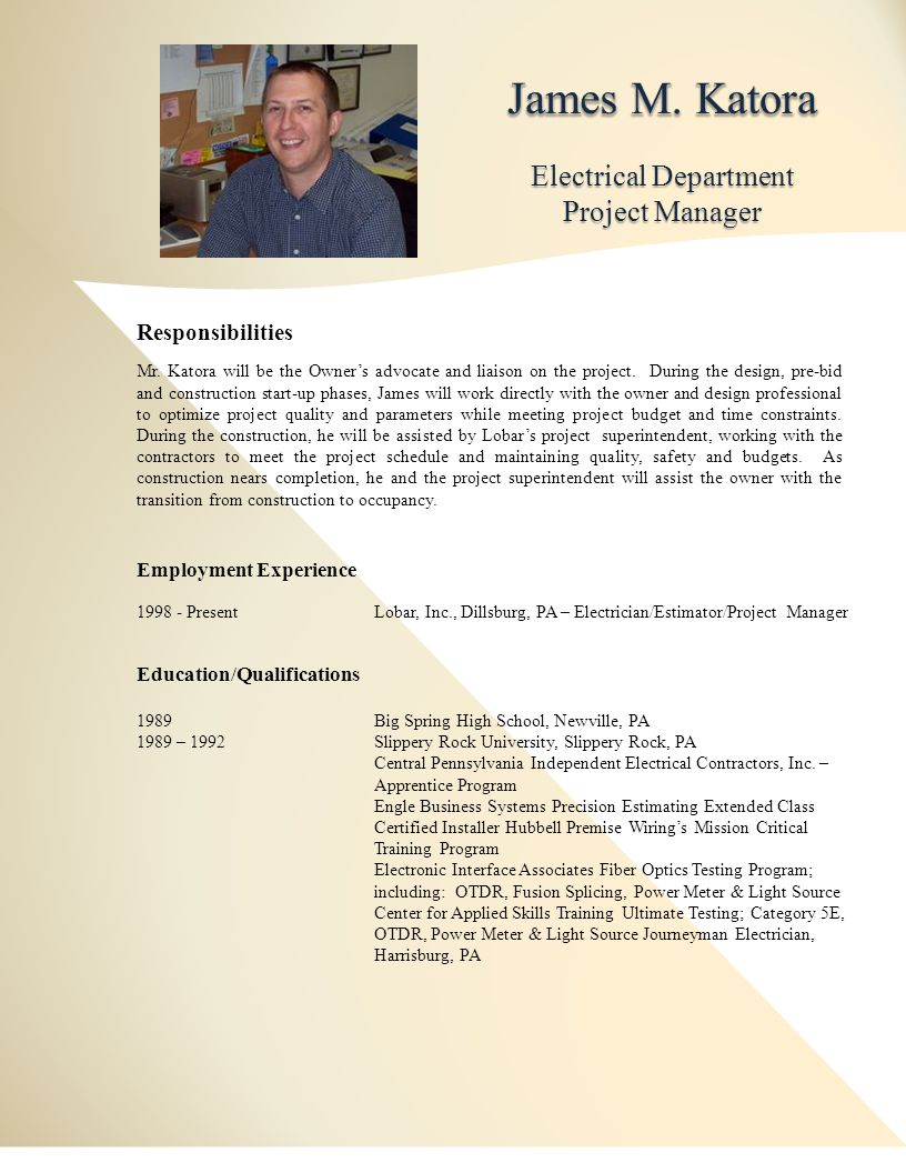 Electrical Department Project Manager Responsibilities Mr.