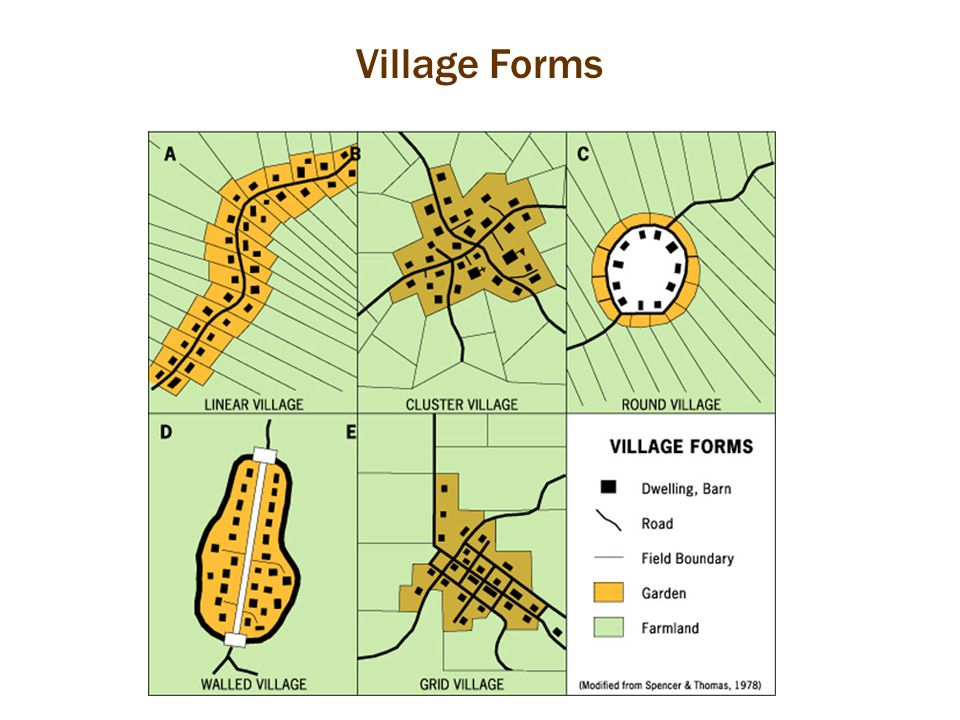 Functional Differentiation within Villages Cultural landscape of a village reflects: – Social stratification – Differentiation of buildings – Cultural norms – Economic way of life – Levels of Interdependence