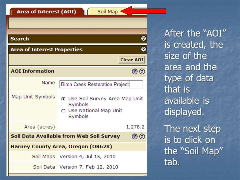 After the AOI is created, the size of the area and the type of data that is available is displayed.