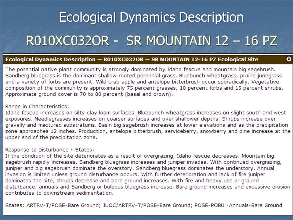 Ecological Dynamics Description R010XC032OR - SR MOUNTAIN 12 – 16 PZ