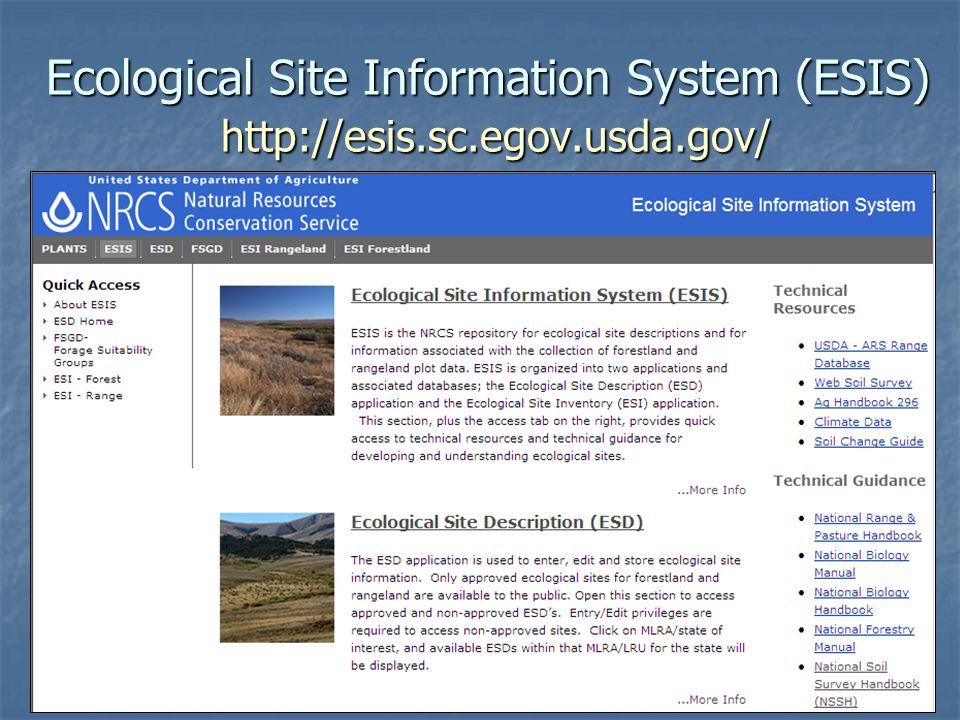 Ecological Site Information System (ESIS) http://esis.sc.egov.usda.gov/