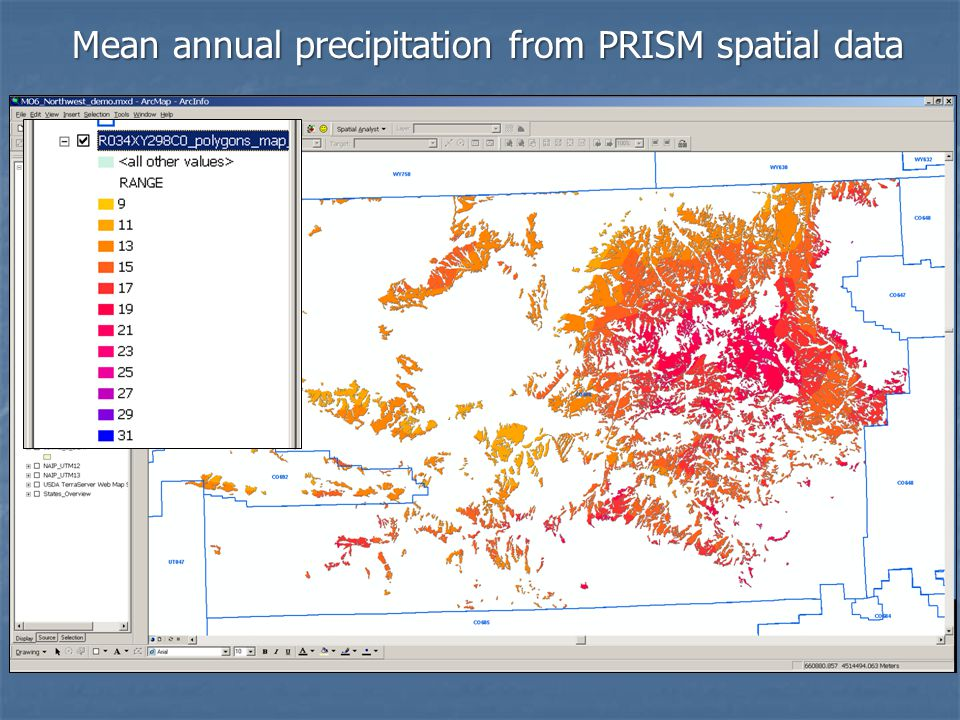 Mean annual precipitation from PRISM spatial data